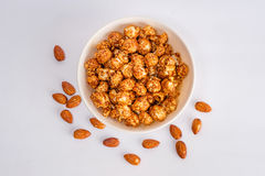 Popcorn and almond stock photography