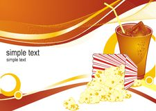 Popcorn background. Cinema popcorn and cola background Royalty Free Stock Images