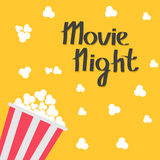 Popcorn bag. Cinema icon in flat design style. Left side. Movie night text. Lettering. Vector illustration Stock Images