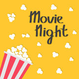 Popcorn bag. Cinema icon in flat design style. Movie night text with shadow. Lettering. Vector illustration Royalty Free Stock Photo