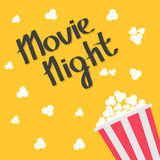 Popcorn bag. Cinema icon in flat design style. Right side. Movie night text. Lettering. Vector illustration Stock Photo