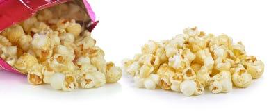 Popcorn bag on white background Royalty Free Stock Photos