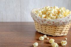 Popcorn in a basket stock photography