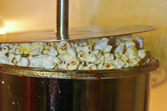 Popcorn being popped in a kettle Stock Image