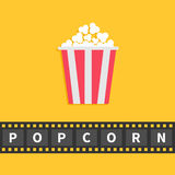 Popcorn. Big film strip line with text. Red white box. Cinema movie night icon in flat design style. Yellow background. Popcorn. Big film strip ribbon line with Royalty Free Stock Photo