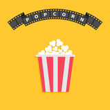 Popcorn. Big film strip round wave ribbon line with text. Red white box. Cinema movie night icon in flat design style. Yellow back. Ground. Vector illustration stock illustration