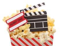 Popcorn, biglietto di ammissione fotografie stock libere da diritti
