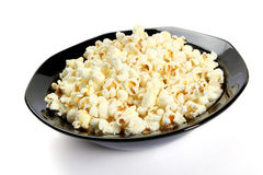 Popcorn in a black bowl Stock Photo