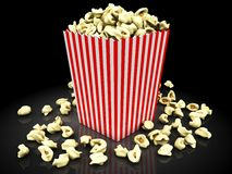Popcorn on a black Stock Photo