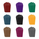 Popcorn in a blue box. Food for an amusement park and a movie trip.Amusement park single icon in black style vector. Symbol stock web illustration Stock Photos