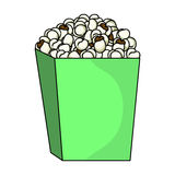 Popcorn in a blue box. Food for an amusement park and a movie trip.Amusement park single icon in cartoon style vector. Symbol stock web illustration Royalty Free Stock Image