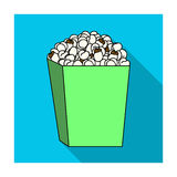 Popcorn in a blue box. Food for an amusement park and a movie trip.Amusement park single icon in flat style vector. Symbol stock web illustration Stock Photos