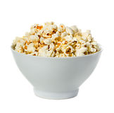 Popcorn on a bowl close-up isolated on a white Royalty Free Stock Image