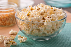 Popcorn. A bowl of freshly popped homemade popcorn Royalty Free Stock Image