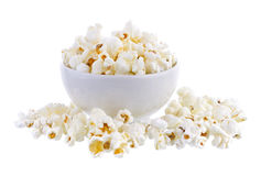 Popcorn in bowl isolated Royalty Free Stock Photography