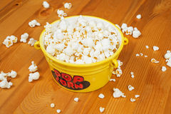 Popcorn. A bowl of popcorn on a wooden table Stock Photo