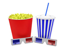 Popcorn box with 3d glasses and drink Royalty Free Stock Photography