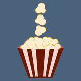 Popcorn box. Cinema icon in flat design style stock illustration