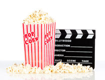 Popcorn box with clapper board Stock Images