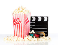 Popcorn box with clapper board Stock Photo