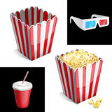 Popcorn box, cola and 3D glasses icon Royalty Free Stock Photography