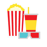 Popcorn Box, Cola and 3D Glasses Stock Photography