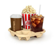 Popcorn in box with colaand coffee in takeaway cup Stock Photos