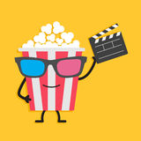 Popcorn box in 3D glasses. Character with face, legs and hands. Clapper board. Cinema icon Flat design style. Stock Photos