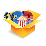 Popcorn box, disposable cup for beverages. With film strip Detailed vector illustration Stock Image