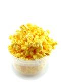 Popcorn in box isolated on white background. Full bucket of popcorn isolated on white Royalty Free Stock Image