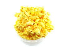 Popcorn in box isolated on white background. Popcorn isolated on white background top view Royalty Free Stock Photo