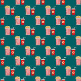Popcorn box seamless pattern vector illustration. Royalty Free Stock Photos