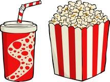 Popcorn. Box of popcorn with soda vector stock illustration