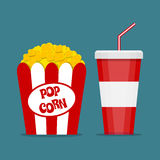 Popcorn box and soda glass. Opened Red white paper box with popcorn and cup for soft drinks with drinking straw. Popcorn and cola logo. vector illustration in Royalty Free Stock Photography