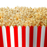 Popcorn Box. In striped red and white classic container isolated on a white background as an entertainment symbol for preparing to watch an important event on stock illustration