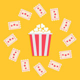 Popcorn Box and Ticket round frame with stars. Cinema Movie icon in flat design style. Yellow background. Vector illustration Royalty Free Stock Photo
