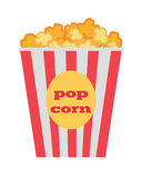 Popcorn Box Vector. Traditional Salty, Sweet Snack. Popcorn box vector icon. Popcorn in flat style design. Traditional salty, sweet snack. Popcorn cinema Stock Photography