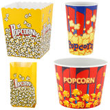 Popcorn boxes and bag Stock Photos