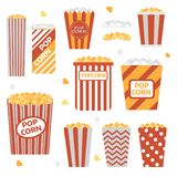 Popcorn Boxes Icon Set. Stripped and polka dotted paper eco friendly recyclable takeout bucket box with corn. Classic movie and theater snack. Fast food or Royalty Free Stock Photography