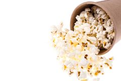 Popcorn in brown paper cup Stock Images