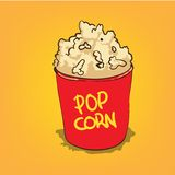 Popcorn in a bucket. Vector illustration Stock Images