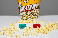Popcorn bucket and 3d glasses Royalty Free Stock Photography