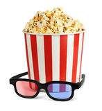 Popcorn in bucket with 3d glasses isolated on white Stock Photos