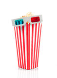 Popcorn bucket and 3D glasses Stock Image