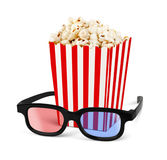 Popcorn in bucket with 3d glasses  on white Royalty Free Stock Photos