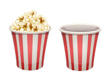 Popcorn bucket: full and empty. Vector popcorn bucket with red stripes  on white. Full and empty Royalty Free Stock Image