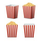 Popcorn bucket isolated. Full and empty pop corn box for cinema. Delicious salty snack food.  Stock Images