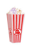 Popcorn in bucket with movie tickets. Isolated Popcorn in bucket with movie tickets Royalty Free Stock Image