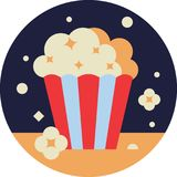 Popcorn Bucket. In Flat STyle Royalty Free Stock Photography