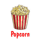 Popcorn bucket sketch for fast food design Stock Images